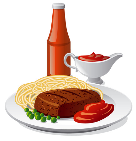 Illustration of pasta with cutlet and tomato sauce in a plate