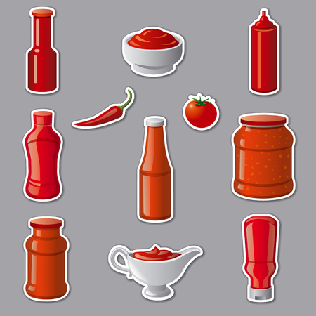 Illustration of set tomato ketchups and sauces stickers Illustration