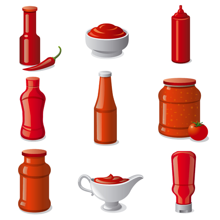 illustration of set tomato ketchups and sauces in bottles Illustration