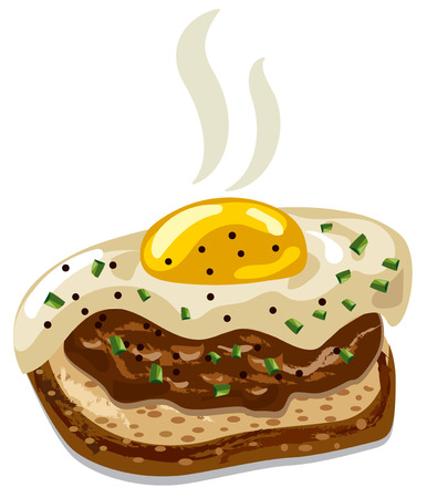 illustration of burger with fried egg and bread