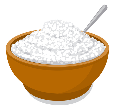 illustration of fresh cottage cheese  in bowl