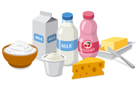 illustration of set different dairy milk products Illusztráció