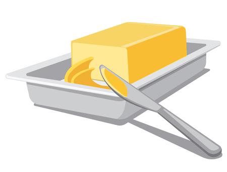 illustration de beurre à tartiner en tranches dans la vaisselle