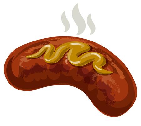 illustration of hot grilled sausage with mustard Standard-Bild - 114863878