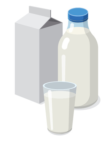 illustration of set bottle and glass with milk
