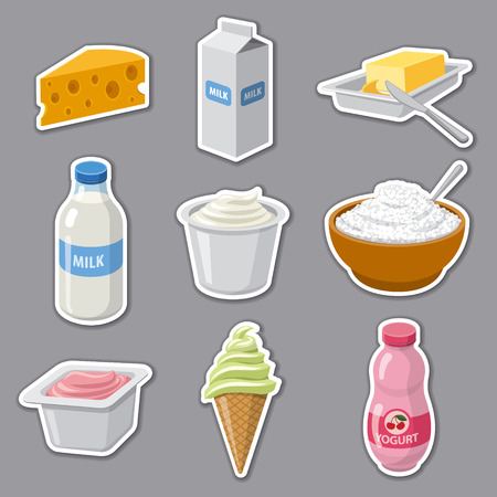 illustration of  stickers set for dairy milk products