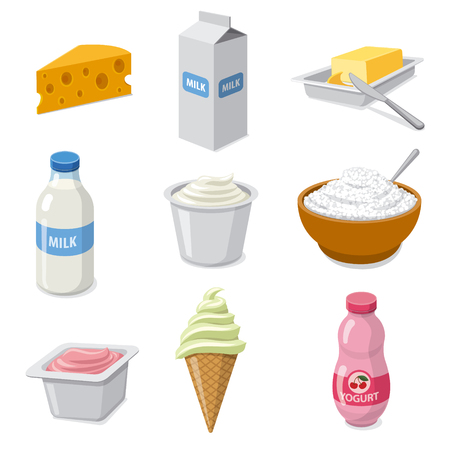 illustration of  icons set dairy milk products Illusztráció