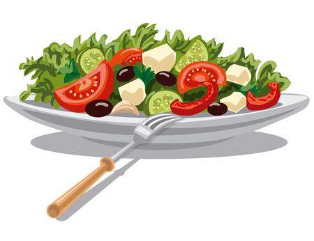 Ilustración de ensalada griega fresca con lechuga, tomates y aceitunas