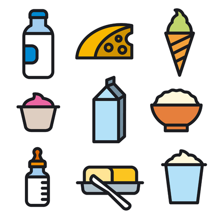 milk products icon set