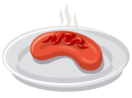illustration of grilled sausage and tomato sauce on a plate