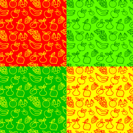 illustration of seamless pattern of fruits and berries in various colors Иллюстрация