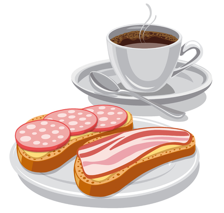 illustration of breakfast with coffee and sandwiches