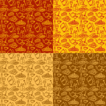 seamless patterns for restaurant and cafe food and dishes Иллюстрация