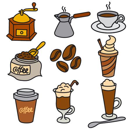 Illustration of coffee drinks icon set Иллюстрация