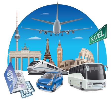 Concept illustration of transport travel in Europe