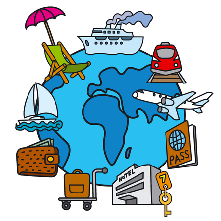 illustration of travel concept icon of resort, cruise and journey