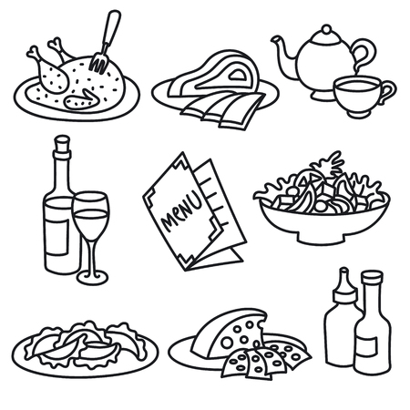 set of icons of restaurant and cafe foods and drinks Illusztráció