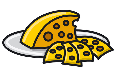 Illustration of sliced cheese on the plate Çizim