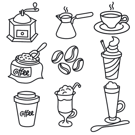 illustration of coffee drinks outline black and white icon set Иллюстрация