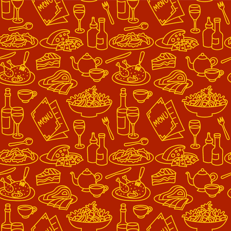 seamless pattern for restaurant and cafe food and dishes  イラスト・ベクター素材