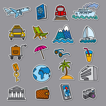 set of travel concept stickers of resort, cruise and journey