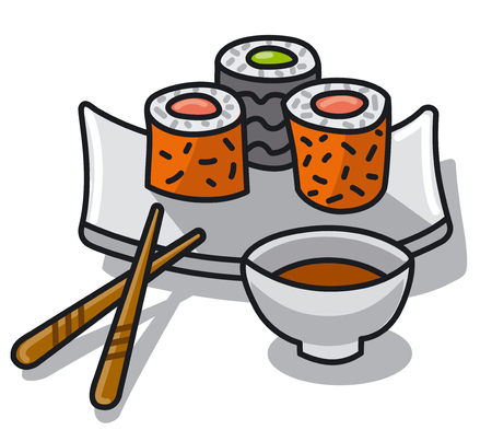 illustration of japan food sushi with sauce