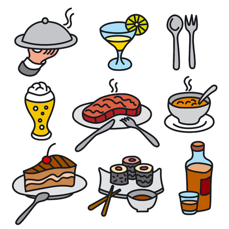 set of icons of restaurant and cafe food and dishes