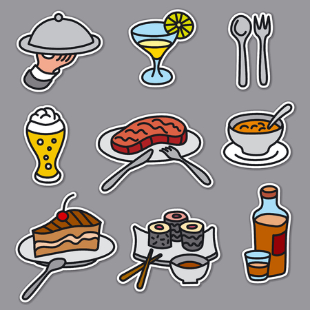 set of stickers of restaurant and cafe food and dishes