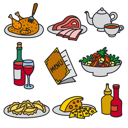 set of icons of restaurant and cafe foods and drinks Иллюстрация