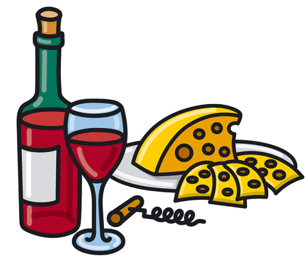 illustration of sliced cheese and red wine bottle