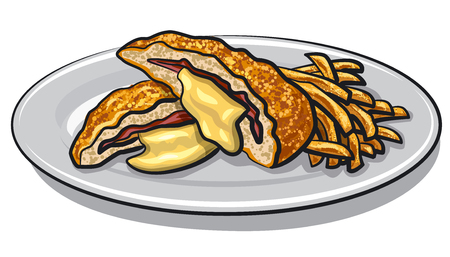 illustration of escalope with fries on a plate