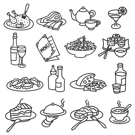 Conjunto de iconos de contornos para comida y platos de restaurante y cafetería. Ilustración de vector