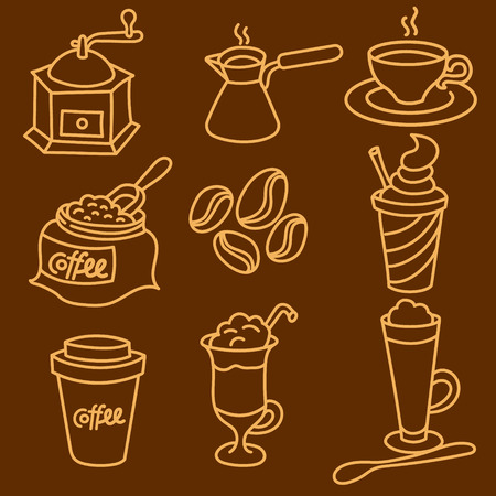 illustration of coffee drinks outline icon set