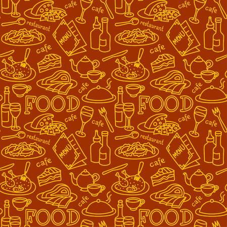 seamless pattern for restaurant and cafe food and dishes Иллюстрация