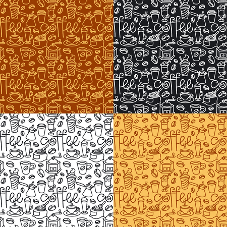 illustration of coffee seamless patterns background, includes four swatches patterns Иллюстрация