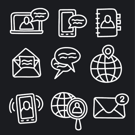 Illustration of set communication icons for network applications Ilustração