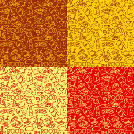 seamless patterns for restaurant and cafe food and dishes, includes four swatches patterns 向量圖像