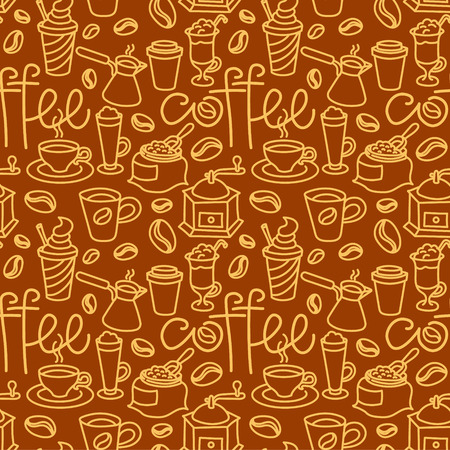 Illustration of coffee seamless pattern Иллюстрация