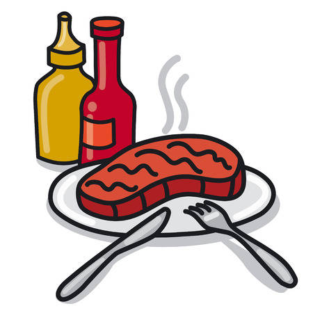 illustration of roasted steak on a plate with ketchup and sauce Иллюстрация