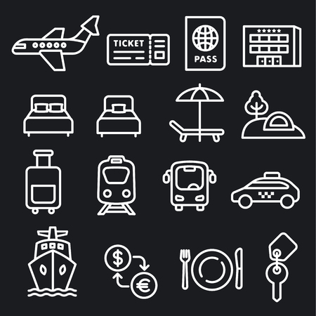 set of black white travel concept icons of resort, cruise and transport 向量圖像
