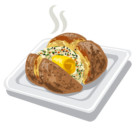 baked potato with spices and butter on plate