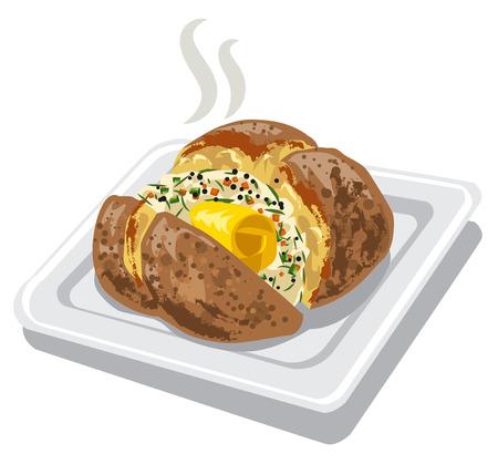Papa al horno con especias y mantequilla en la placa Ilustración de vector
