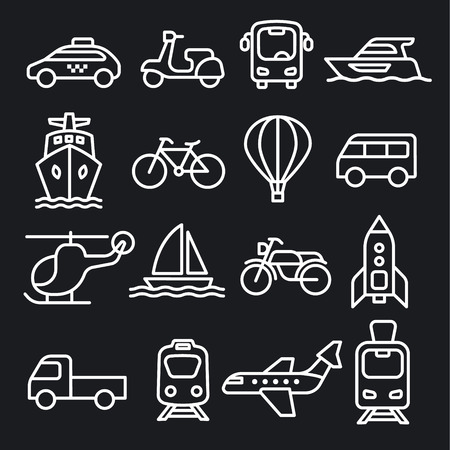 set of black white concept icons of transport Иллюстрация