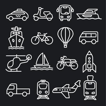 set of black white concept icons of transport 向量圖像