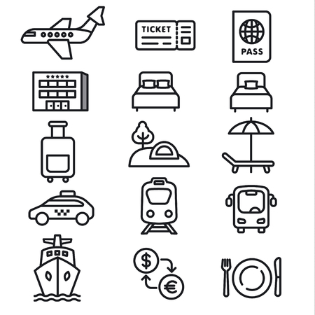 set of black white travel concept icons of resort, cruise and transport Иллюстрация
