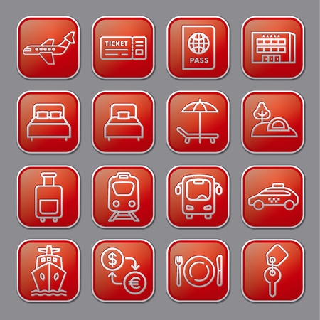 set of travel concept glossy icons of resort, cruise and transport Vettoriali