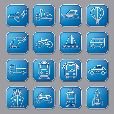 set of blue concept icons and buttons of transport