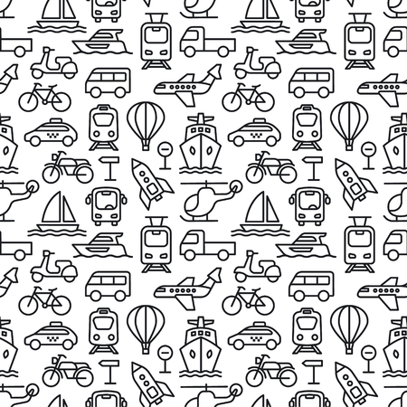set of black white concept seamless pattern of different transport