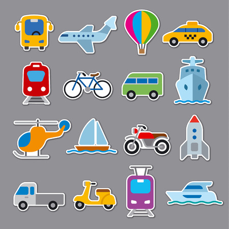 set of flat illustrations for concept stickers of transport