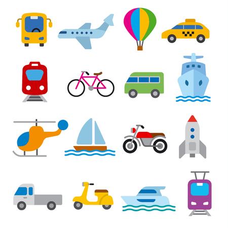 Reihe von Illustrationen für Konzeptsymbole des Verkehrs